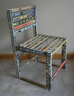 Great for Hockey Bar Mitzvah - Hockey Stick Chair #hockeystickchair #hockeybarmitzvah