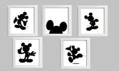 5 Piece Mickey Mouse Silhouette Art por HopefulPrinting en Etsy - It would be so easy to make this yourself. Find pictures online (google) and print them off!