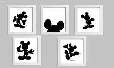 5 Piece Mickey Mouse Silhouette Art por HopefulPrinting en Etsy