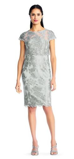 Metallic Embroidered Sheath Dress with Sheer Short Sleeves | Adrianna Papell