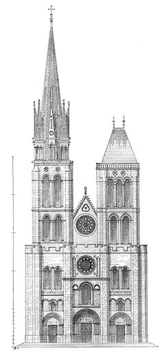 St Denis / Reconstruction of West Facade By Viollet-le-Duc With Gothic North Tower