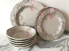 NEW Aphorism Melamine Off White Brown Rustic Crackle 17PC Dinnerware Plates Set  #Aphorism