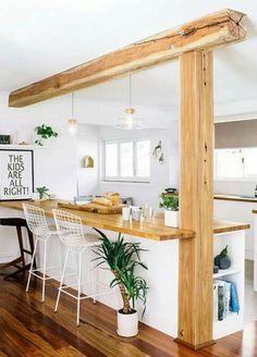 Cocina pequeña, little kitchen, desayunador, madera, woods