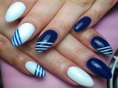 Blue and White Nail Art Designs