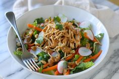 Crunchy Thai Chicken Salad with Peanut Dressing - Lauren's Latest