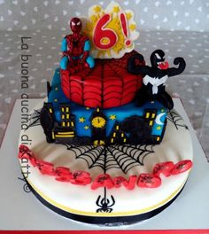 "La buona cucina di Katty: Torta Spiderman e Venom - ""Spiderman and Venom cake"""