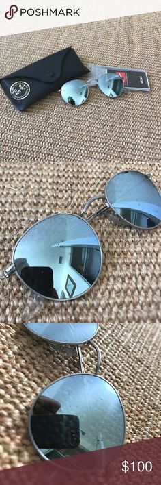 Metallic silver round ray bans Lightly worn round metallic ray bans. A few scratches as seen in the pics. Still in great condition and comes with everything in the pic! Ray-Ban Accessories Sunglasses