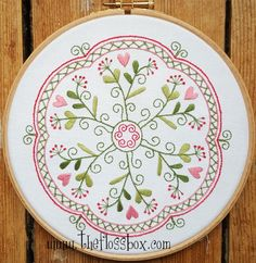 Garden of Hearts Mandala Embroidery Pattern and Kit by Theflossbox on Etsy