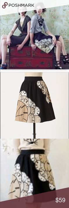 Anthropologie floreat clock print skirt Anthropologie floreat clock print, lost time skirt with petticoat Anthropologie Skirts A-Line or Full