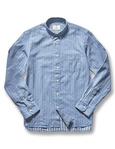 A long sleeve patterned shirt made from 100% premium cotton woven with a classic summer blue and white pattern from Western Assembly premium Portuguese menswear designer, La Paz. Featuring a front pocket and button down collar.