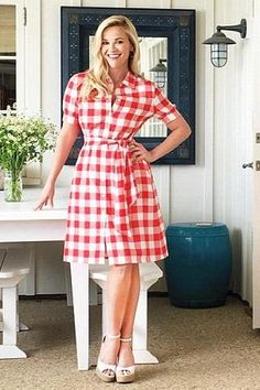 Reese Witherspoon wearing Tabitha Simmons Harp Perforated Leather Wedge Sandals and Draper James Gingham Midi Shirtdress