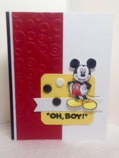"""A Mickey Mouse Card """"Oh, Boy!"""" by AmylovesNormaJean - Cards and Paper Crafts at Splitcoaststampers Dots Candy, Disney Cards, Arts And Crafts, Paper Crafts, Blog Layout, Yellow Paper, Disney Birthday, Boy Photos, Creative Inspiration"""