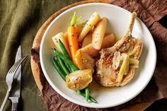 Pork cutlets with apple & parsnip