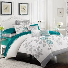 White cotton duvet cover with Teal embroidered flowers from Bed Bath & Beyond