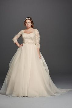 Extra Length Organza Oleg Cassini Plus Size Beaded Lace Wedding Dress - White, 24W