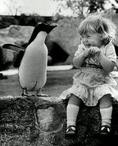 Penguin and little girl