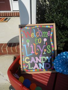 Love this sign at a Candyland party!  See more party ideas at CatchMyParty.com!  #partyideas #candy