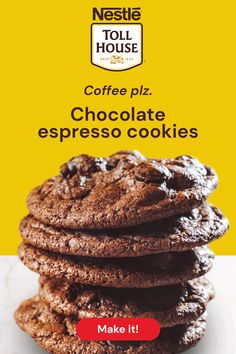 Coffee lovers rejoice! Try our Nestlé® Toll House® Chocolate Espresso Cookies for a rich coffee kick. These cookies are made with our Semi-Sweet Morsels, now with a richer and creamier taste, and our fan-favorite Espresso Morsels. Make them today! Yummy Treats, Sweet Treats, Yummy Food, Chocolate Espresso, Cookie Recipes, Dessert Recipes, Cream Cheese Desserts, Toll House, Cookie Time