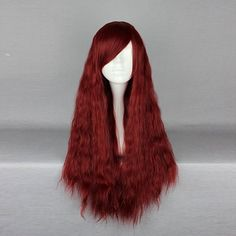 70cm Wine Red Side Bang Curly Harajuku High Temperature Heat Friendly Synthetic Costume Cosplay Wig