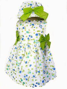 Vestido niña verano con estampado de flores pistacho y gorro a juego - Vestidos para Bebé y Niña hasta los 4 Años - Mundo Kiriko #Modainfantil