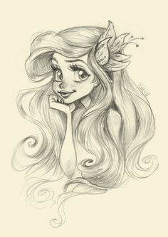 Disney princess ariel, disney girls, mermaid princess, drawings of mermaids Disney Sketches, Disney Drawings, Cartoon Drawings, Cute Drawings, Drawing Sketches, Drawings Of Ariel, Drawing Ideas, Disney Style Drawing, Fairy Drawings