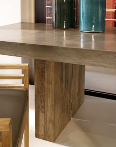 Perpetual Collection - Light weight concrete with reclaimed teak base - Olympus Dining Table