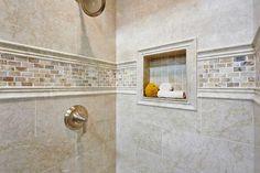Bathroom shower accent tile - Teraporto Listello Travertine Mosaic Tile 3 x 12 in. https://www.tileshop.com/product/658423-P.do