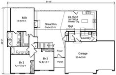 Plan 2293SL Ranch Living with Three Car Garage