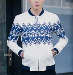 Color block geometric bomber jacket zip up jacket coat for men