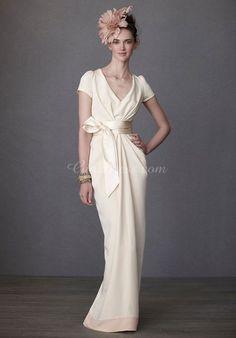 column ribbon empire waist split v-neck wedding dress - Gindress.com