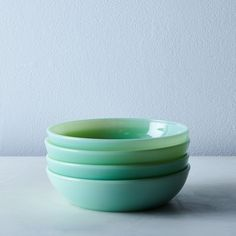 Jadeite Glass Shallow Bowls (Set of Chelsea Blue, Flint Glass, Wax Lyrical, Vintage Silhouette, Glass Company, Mixing Bowls, Gorgeous Cakes, Food 52, Shallow