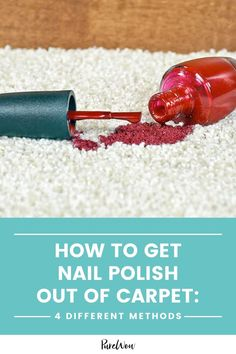Your kid got a hold of your nail polish and now your carpet looks like a Jackson Pollock. Before you completely go bonkers, learn how to get nail polish out of carpet with these four methods. #nailpolish #stain #carpet Carpet Cleaning Recipes, Carpet Cleaning Equipment, Dry Carpet Cleaning, Carpet Cleaning Business, Diy Carpet Cleaner, Diy Cleaning Products, Cleaning Hacks, Cleaning Quotes, Cleaning Services