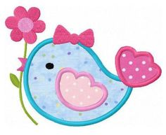 Flower bird applique machine embroidery design by FunStitch, $4.00