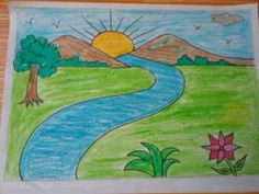 Art video for kids learn with fun drawing, painting and crafting Landscape Drawing For Kids, Basic Drawing For Kids, Scenery Drawing For Kids, Easy Drawings For Kids, Landscape Drawings, Painting For Kids, Drawing Ideas Kids, Drawing Classes For Kids, Landscape Art