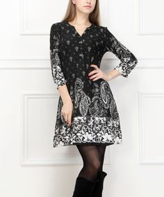 Look what I found on #zulily! Black & White Paisley Henley Dress by Reborn Collection #zulilyfinds