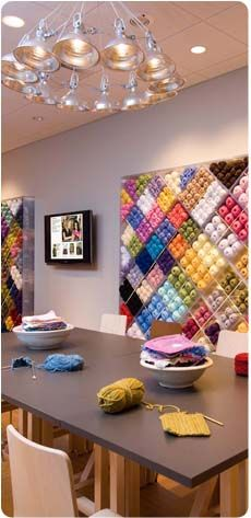 The lion brand studio.  It is my dream to someday, in the house we eventually build, have a craft room exactly like this.  At the moment, I don't have this much yarn (but I do have alot).  I just want smaller scale storage similar to this.