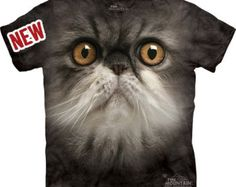 Furry Black Cat Face T-shirt Great Christmas Gift Big pet animal face Tie Dye washed Shirts S-3XL
