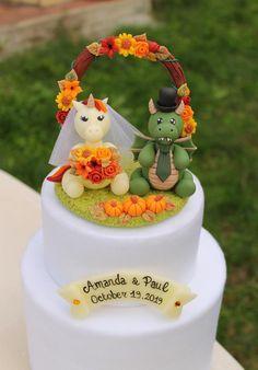 Dog Cake Topper, Unicorn Cake Topper, Custom Cake Toppers, Mini Wedding Cakes, Wedding Cake Photos, Autumn Wedding, Rustic Wedding, Dragon Wedding Cake, Groom Colours