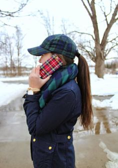 Plaid everything in winter snow
