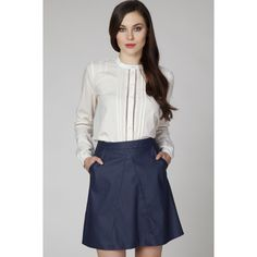Dark Blue A-Line Skirt with Pockets Fabric: Polyester Spandex Great Style is Worth the Wait! Skirts With Pockets, Formal Gowns, A Line Skirts, Business Women, Blue Dresses, High Waisted Skirt, Ruffle Blouse, Fancy, Spandex