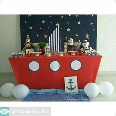 Comunion niño, decoración de fiestas infantiles, mesa de chuches, mesa de d Candy Bar Comunion, Row Row Your Boat, Baby Shawer, Nautical Party, Mickey Mouse Birthday, Ballon, Baby Decor, Baby Boy Shower, Kids And Parenting