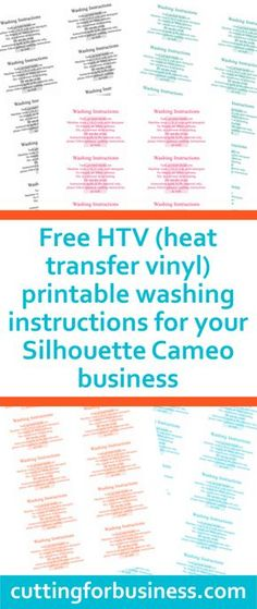 FREE PRINTABLE Siser Heat Transfer Vinyl Quick Guide Heat - Vinyl cup care instructions