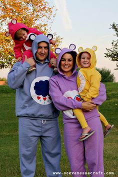 Care Bears warm halloween costume idea.  Perfect for a family!!  I REALLY like this.  Cute as a group thing, too.  Who wouldn't be comfy in sweats?  And you get candy!?