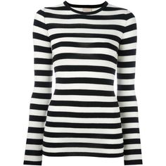 Laneus Striped Jumper (2 735 ZAR) ❤ liked on Polyvore featuring tops, sweaters, black, laneus, jumpers sweaters, striped top, jumper top and striped sweaters
