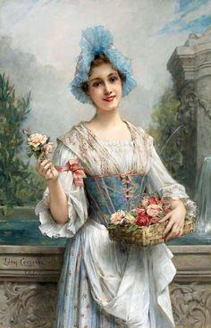 Leon Francois Comerre (French artist, 1850-1934) The Flower Seller