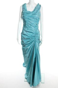 NWT TADASHI COLLECTION Blue Silk Satin Ruched Mermaid Evening Gown #TadashiCollection