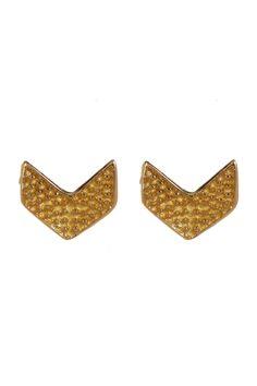 18K Gold Plated Sterling Silver V-Shaped Stud Earrings