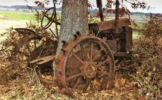 1931 John Deere with an oak tree that has grown around and through it. ~~~ SO sad for both the tree - a living thing.and the tractor - still abused by the living. Antique Tractors, Vintage Tractors, Old Tractors, John Deere Tractors, Vintage Farm, Farmall Tractors, Old Farm Equipment, Abandoned Cars, Abandoned Vehicles