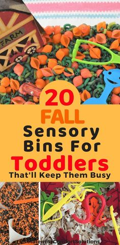 20 Fall Sensory Bins For Toddlers That'll Keep Them Busy 20 Fall Sensory Bins For Toddlers. Learn how to make Fall sensory bins for your toddler. Fall Sensory Bin, Toddler Sensory Bins, Sensory Tubs, Sensory Boxes, Baby Sensory, Toddler Fun, Toddler Learning, Sensory Activities, Infant Activities