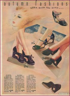 Chicago Mail Order 1940/40 | New Vintage Lady fashion style 40s shoes pumps heels wedge black green blue sandals casual color photo illustration print ad women war era swing